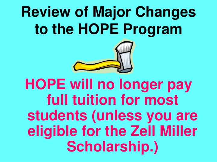 Review of Major Changes to the HOPE Program