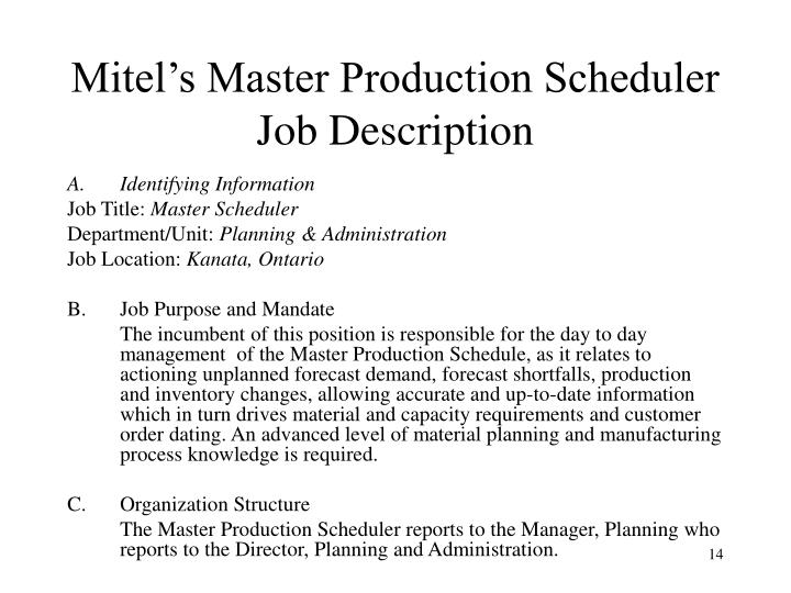 Master Scheduler Job Description. Mitel'S Master Production