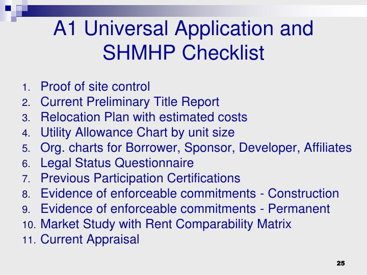A1 Universal Application and SHMHP Checklist