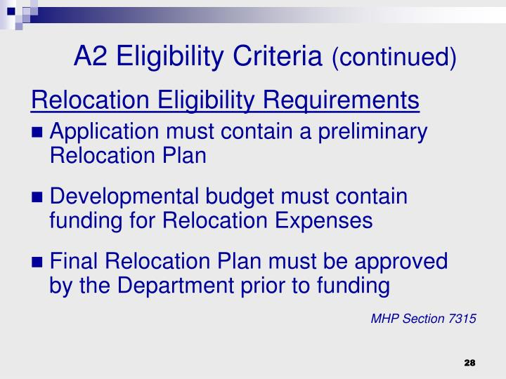 Relocation Eligibility Requirements