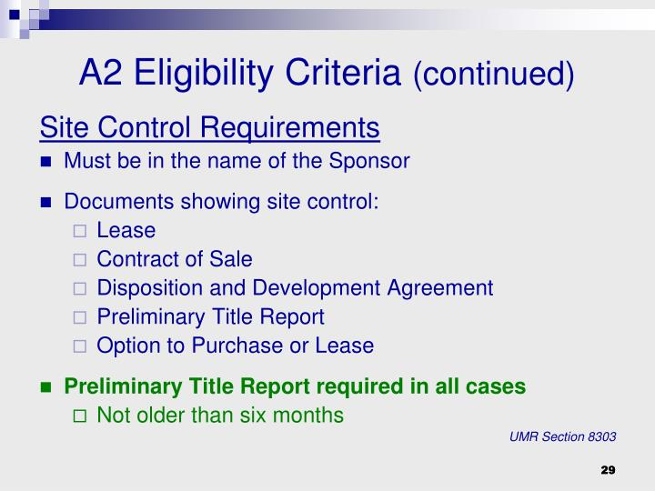 Site Control Requirements