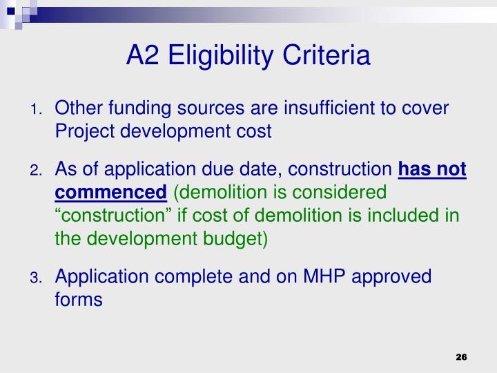 A2 Eligibility Criteria