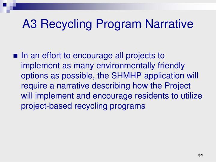 A3 Recycling Program Narrative