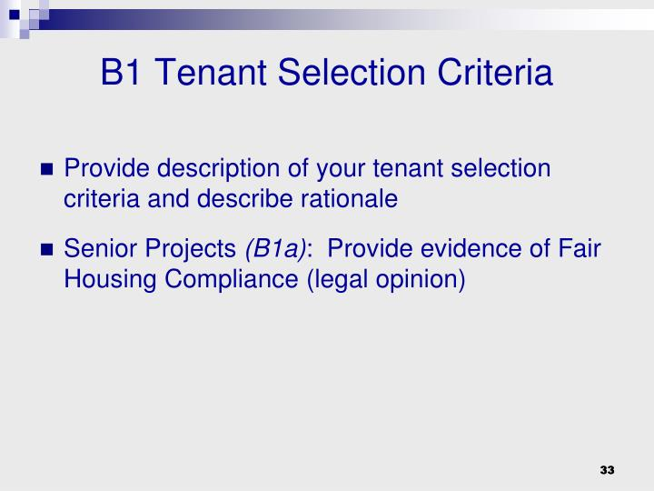 B1 Tenant Selection Criteria