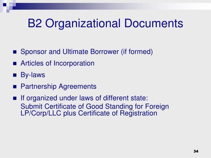 B2 Organizational Documents
