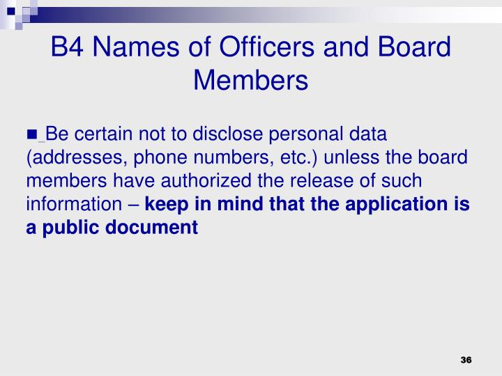 B4 Names of Officers and Board Members