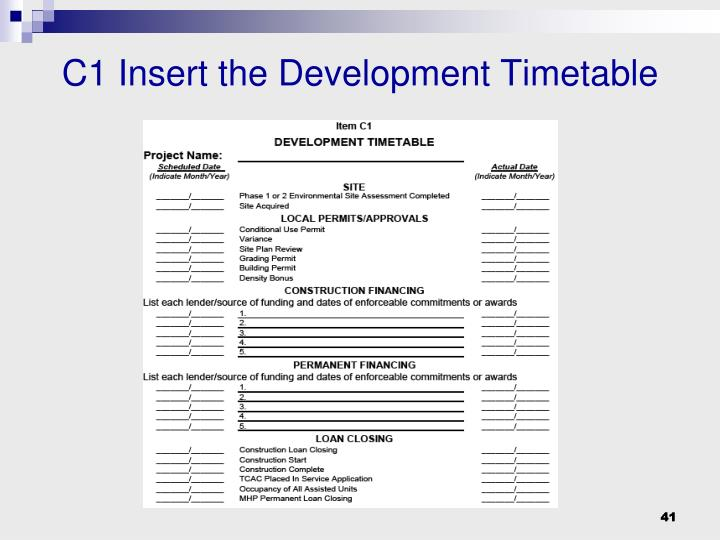 C1 Insert the Development Timetable
