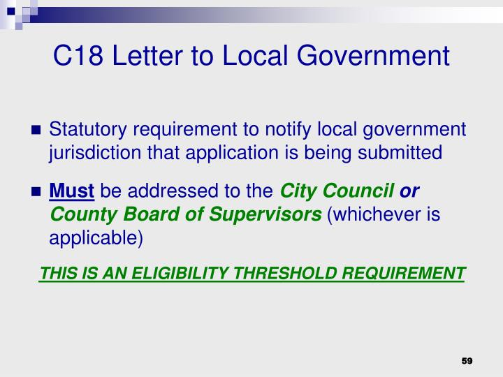 C18 Letter to Local Government