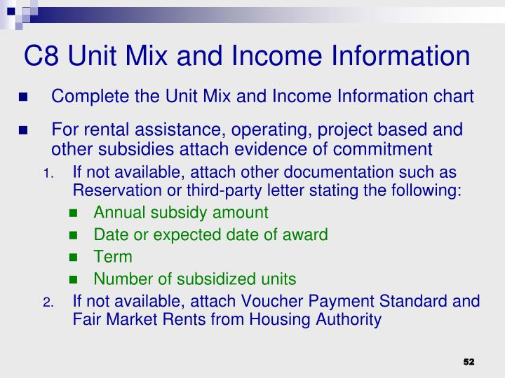 C8 Unit Mix and Income Information