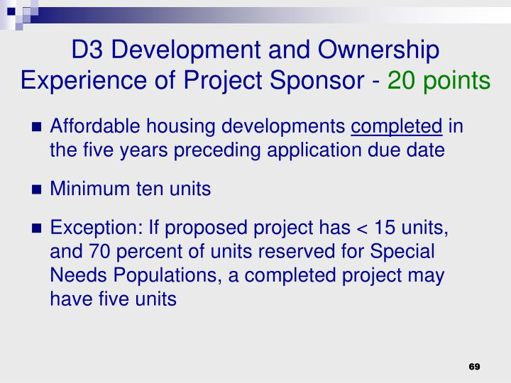 D3 Development and Ownership Experience of Project Sponsor -