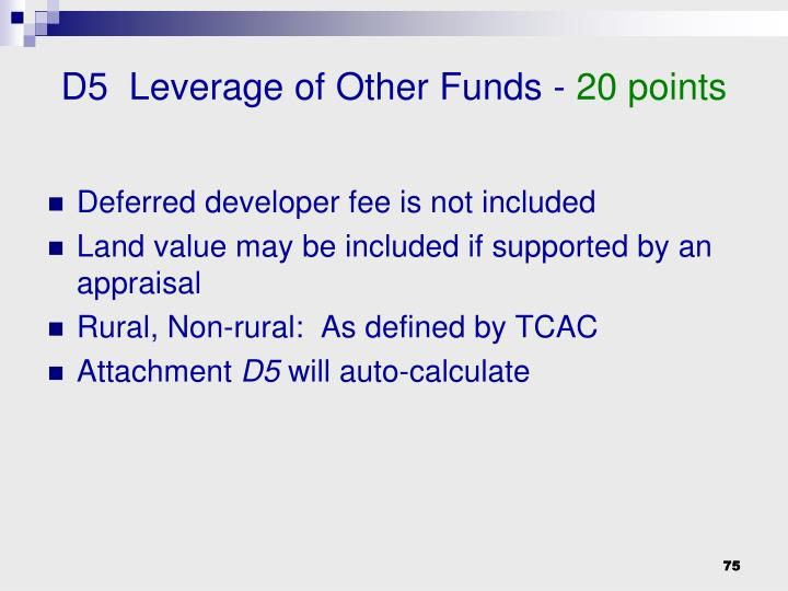 D5  Leverage of Other Funds -