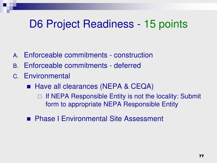 D6 Project Readiness -