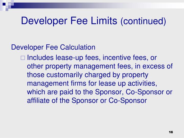 Developer Fee Limits