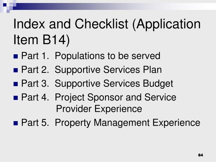 Index and Checklist (Application Item B14)