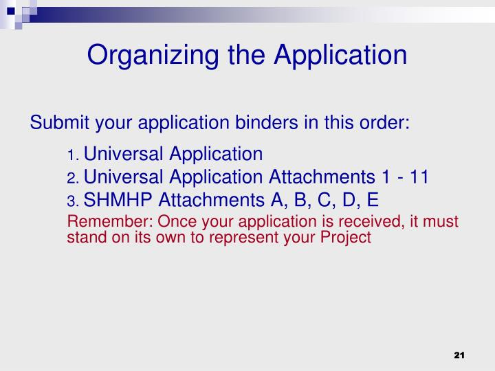 Submit your application binders in this order: