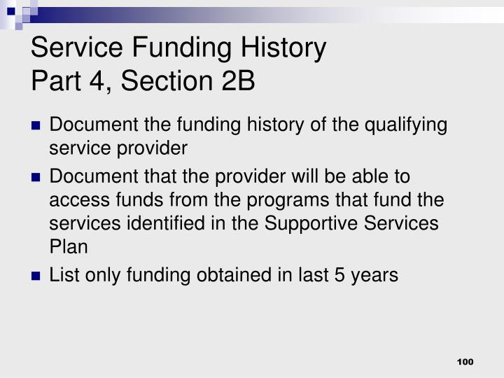 Service Funding History