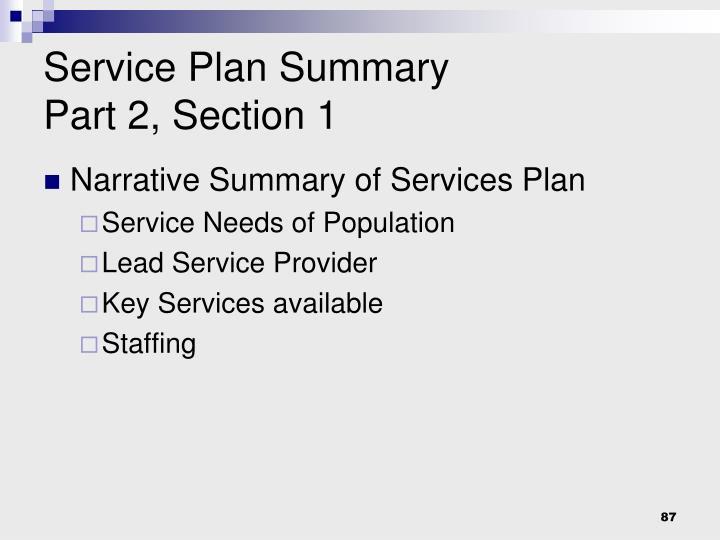 Service Plan Summary