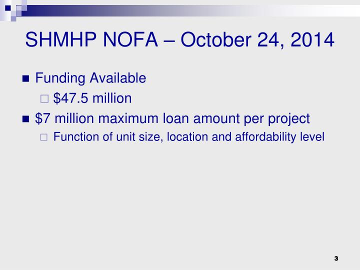 SHMHP NOFA – October 24, 2014