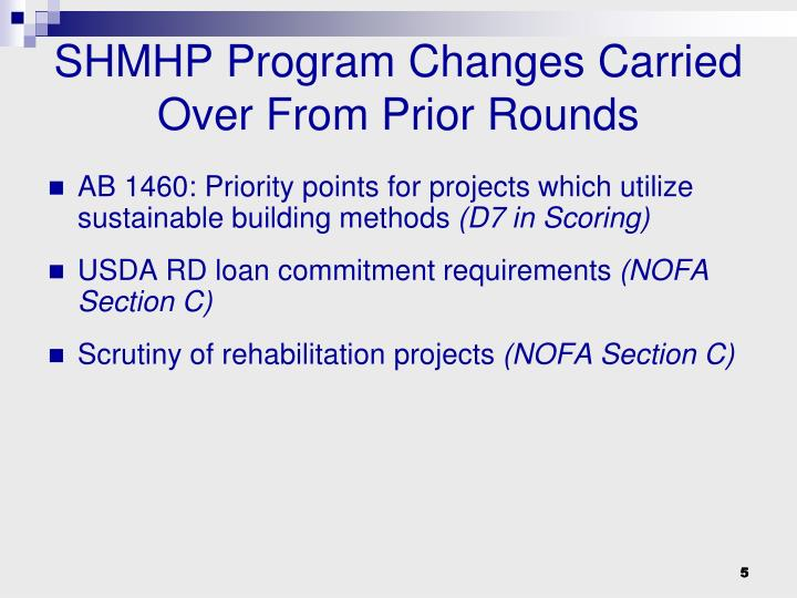 SHMHP Program Changes Carried Over From Prior Rounds