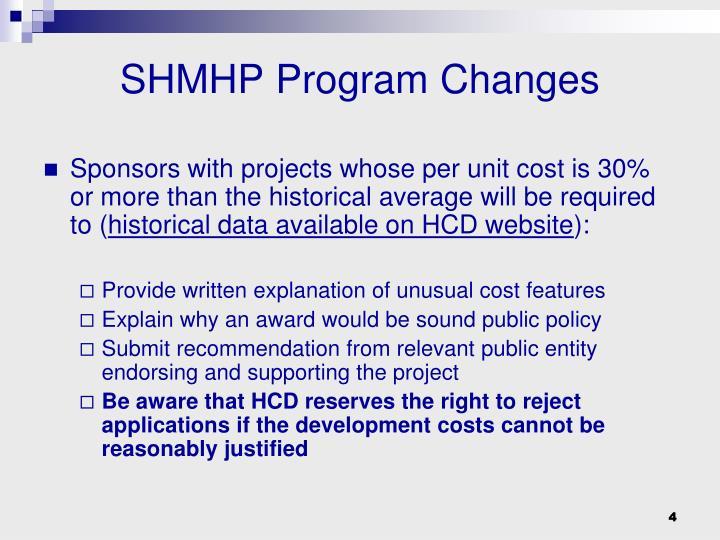 SHMHP Program Changes