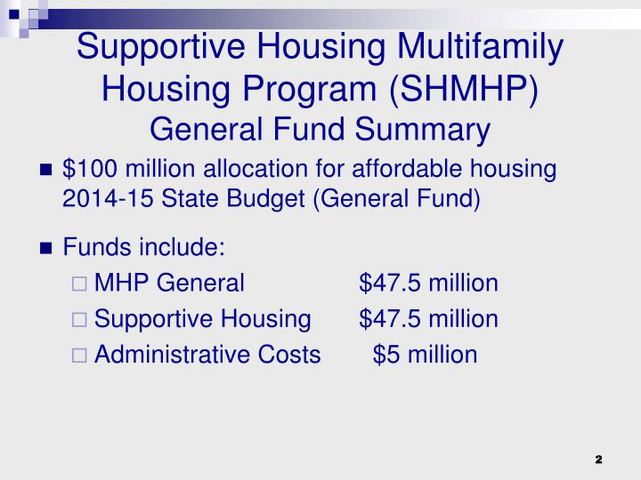 Supportive housing multifamily housing program shmhp general fund summary