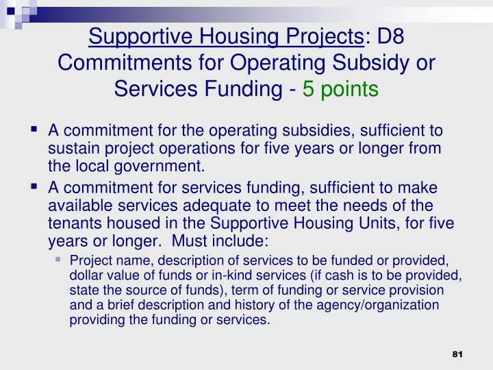 Supportive Housing Projects