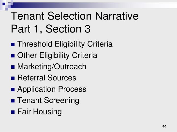Tenant Selection Narrative
