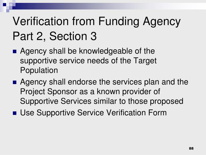 Verification from Funding Agency