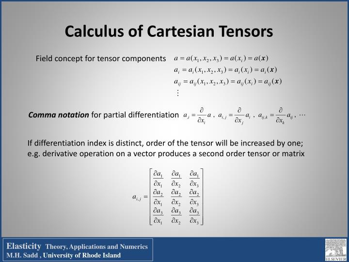 Calculus of Cartesian Tensors
