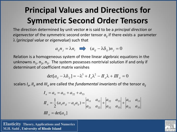 Principal Values and Directions for Symmetric Second Order Tensors