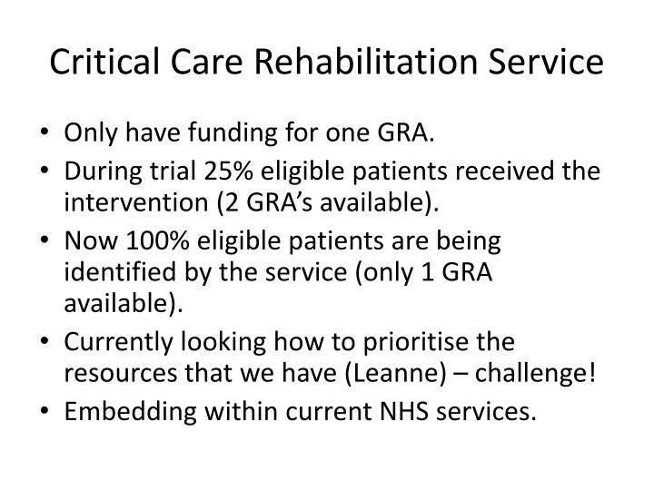 Critical Care Rehabilitation Service