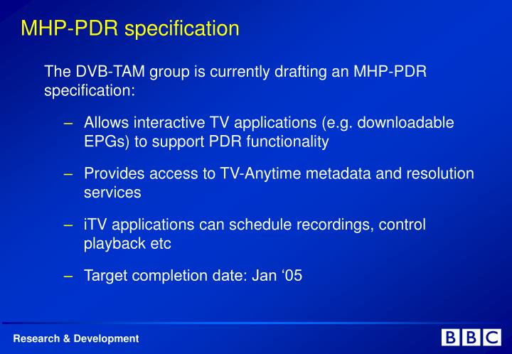 MHP-PDR specification