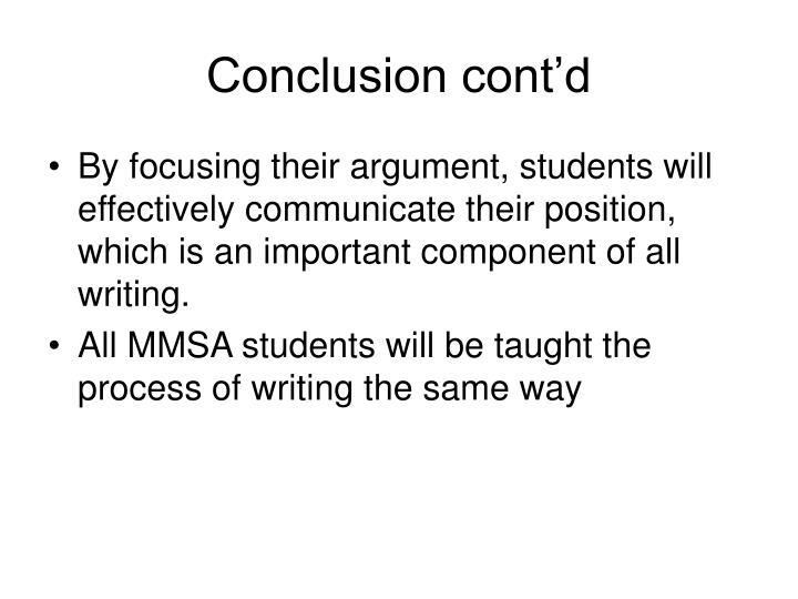 Conclusion cont'd