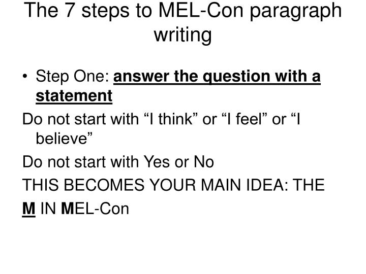 The 7 steps to MEL-Con paragraph writing