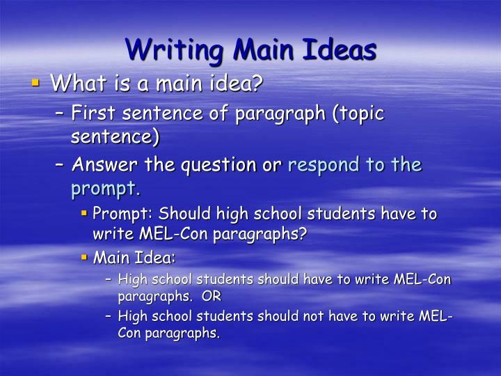 Writing Main Ideas