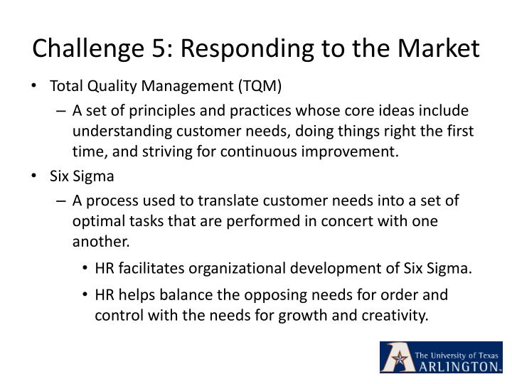 Challenge 5: Responding to the Market