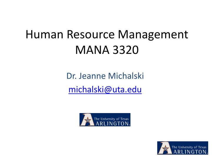 Human resource management mana 3320