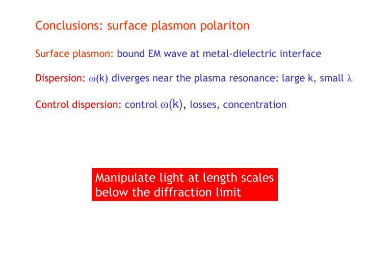 Conclusions: surface plasmon polariton