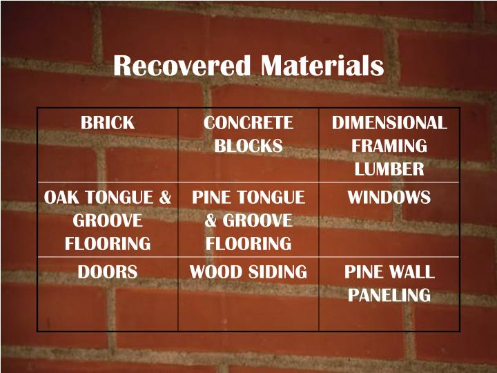 Recovered Materials