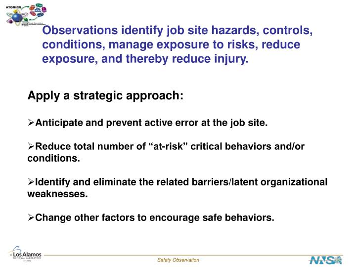 Observations identify job site hazards, controls,