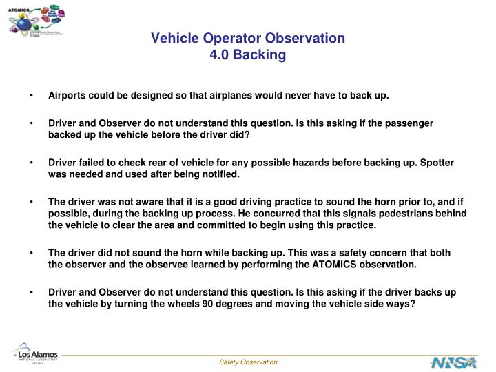 Vehicle Operator Observation