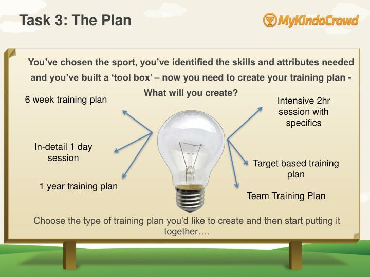 Task 3: The Plan