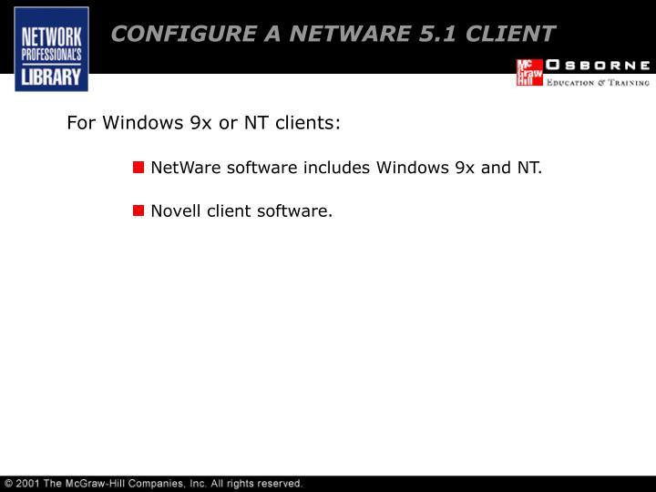 CONFIGURE A NETWARE 5.1 CLIENT