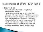 maintenance of effort idea part b11