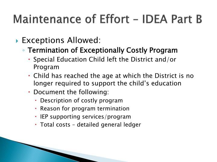 Maintenance of Effort – IDEA Part B