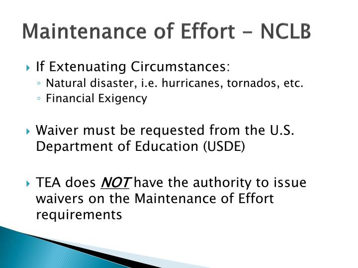 Maintenance of Effort - NCLB