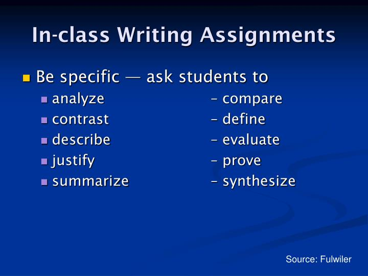In-class Writing Assignments