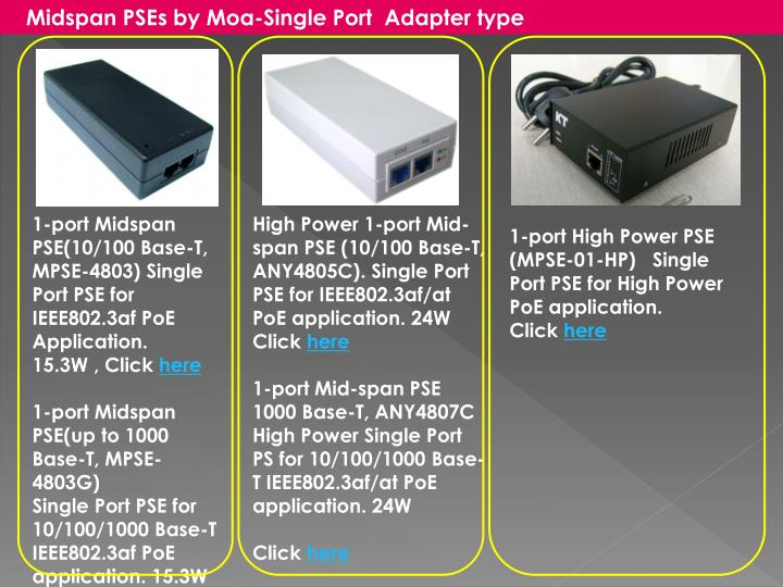 Midspan PSEs by Moa-Single Port  Adapter type