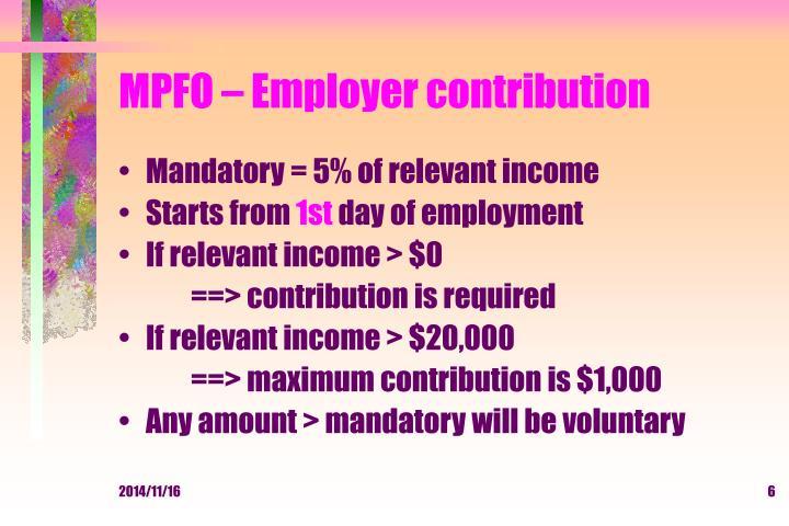 MPFO – Employer contribution