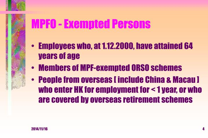 MPFO - Exempted Persons